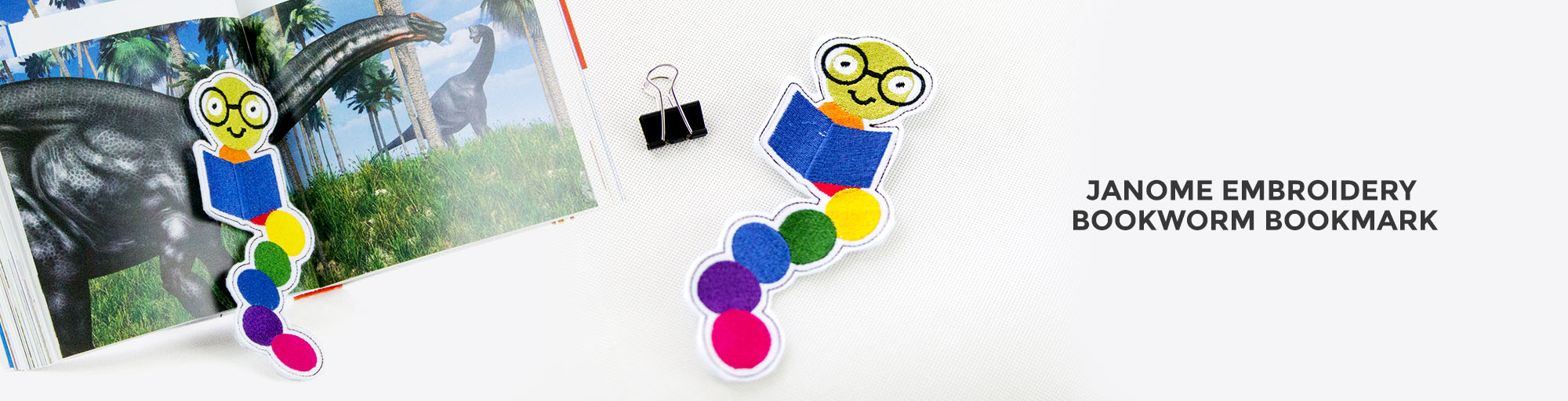 Janome bookworm bookmark embroidery project